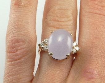 Vintage NATURAL LAVENDER JADEITE Diamond Ring 14K 14kt Yellow Gold Jadeite Jade Diamond Ring Lavender Purple Jade Ring Jade Cabochon Ring