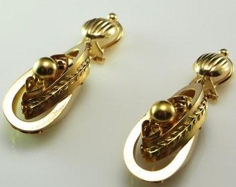 Victorian Earrings Antique Earrings Antique Gold Earrings Post Georgian Earrings 14K Gold Drop Earrings Etruscan Jewelry Dangle Earrings