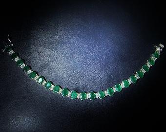Emerald Bracelet Emerald Cabochon Diamond Bracelet Colombian Etsy