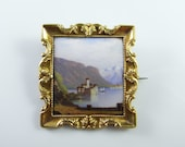 Swiss 19th Century Victorian Brooch Victorian Jewelry Antique Brooches Miniature Paintings 18K Gold Jewelry Enamel Jewelry Enamel Brooch Pin