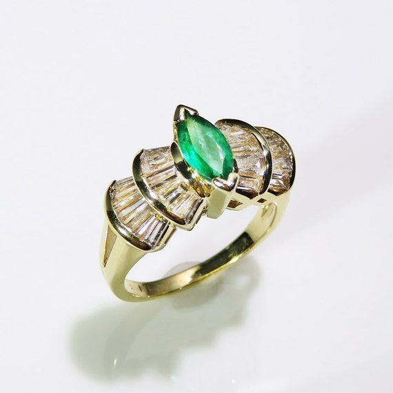 Marquise Emerald Ring Natural Emerald Ring Emeral… - image 2