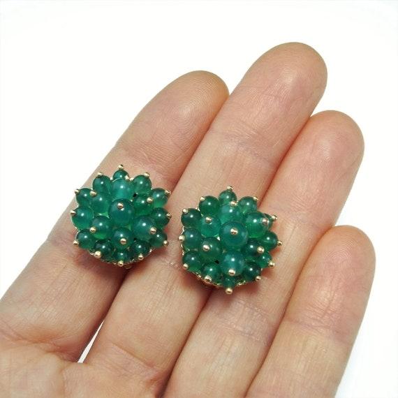 1950s Gold Clip On Earrings Green Chrysoprase Bead