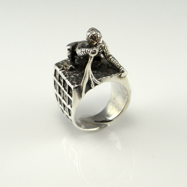 Unique Spiderman Ring Spiderman Jewelry Spiderman Gifts Mens Ring Signet Ring Sterling Silver Mid Century Ring 1960s Jewelry 1970s Jewelry