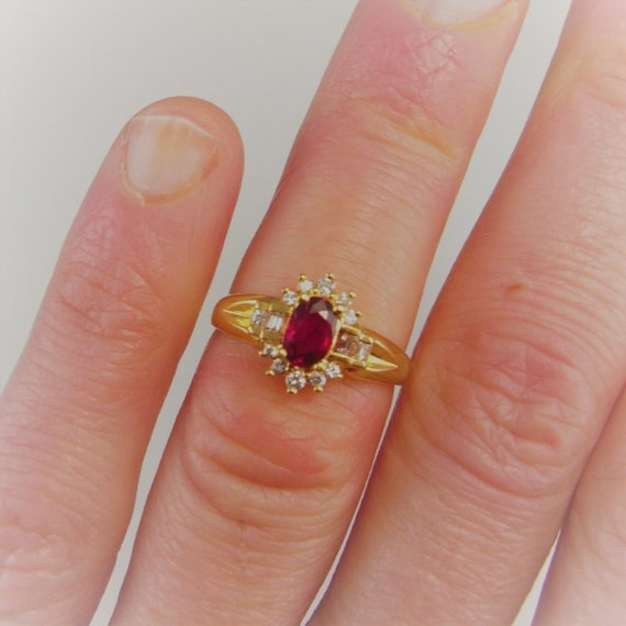 Blood Red Ruby Ring 18K Gold Vintage Ruby Diamond