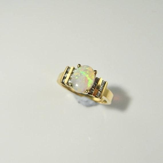 Natural Opal Engagement Ring Natural Opal Ring Australian Opal Etsy