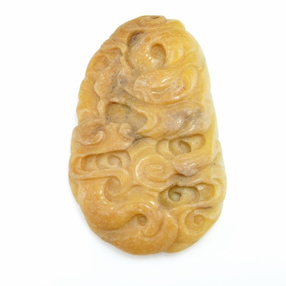 Chinese Natural Jade Hand-carved Yellow Jade Dragon Pendant necklace