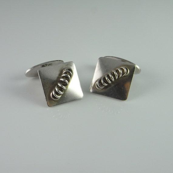 Modernist Jewelry Silver Cufflinks 1950s Jewelry G