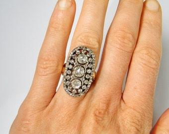 Georgian Ring Georgian Diamond Ring Georgian Jewelry Oval Diamond Ring 18K Gold Ring Rose Cut Diamond Ring 18th Century Jewelry Old Cut