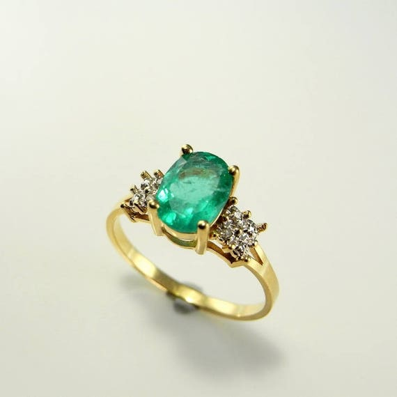 Grass Green Emerald Engagement Ring Natural Emeral
