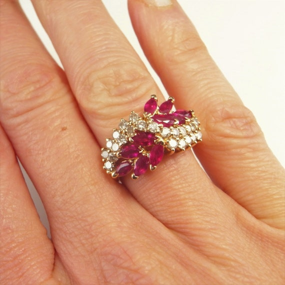 VIVID RED RUBY Ring 14K Red Ruby Diamond Ring Marq