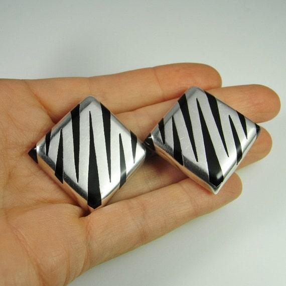 Zebra Square Earrings Mexican jewelry Minimalist … - image 2