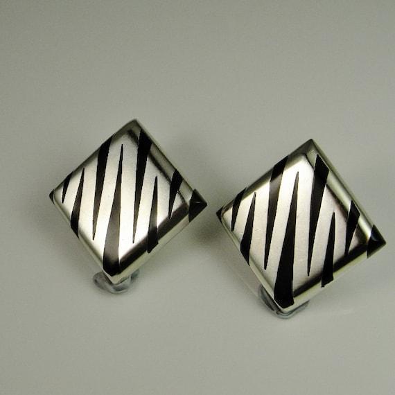 Zebra Square Earrings Mexican jewelry Minimalist … - image 6