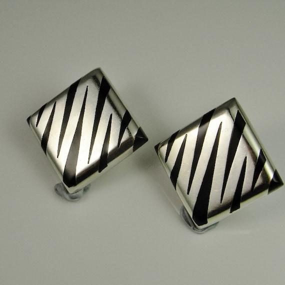 Zebra Square Earrings Mexican jewelry Minimalist … - image 1