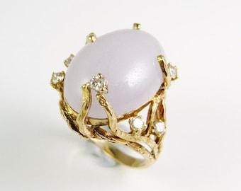 Lavender Jade Ring Jade Cabochon Ring Untreated Jade Diamond Ring 14K Gold Ring Modernist Jewelry Mid Century Jadeite Ring Jadeite Jade Ring