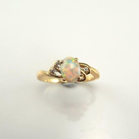 Dainty Opal Ring Opal Diamond Ring Opal Engagement