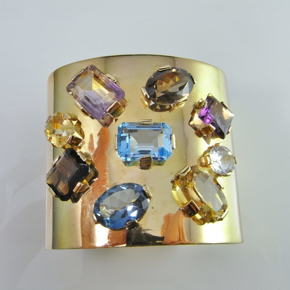 Gold Statement Bracelet 1950s Jewelry 18K Gold Cuf