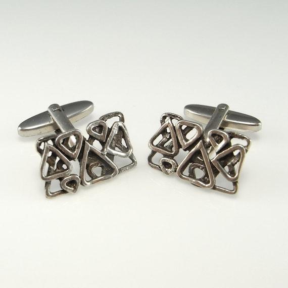 Silver Cufflinks Vintage Cufflinks Mens Cuff Links