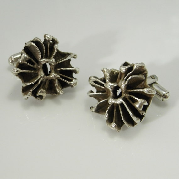 Mens Cuff Links Vintage Cufflinks Silver Cufflinks