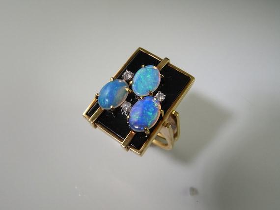 Australian Opal Ring 1970s Jewelry Onyx Diamond Ri