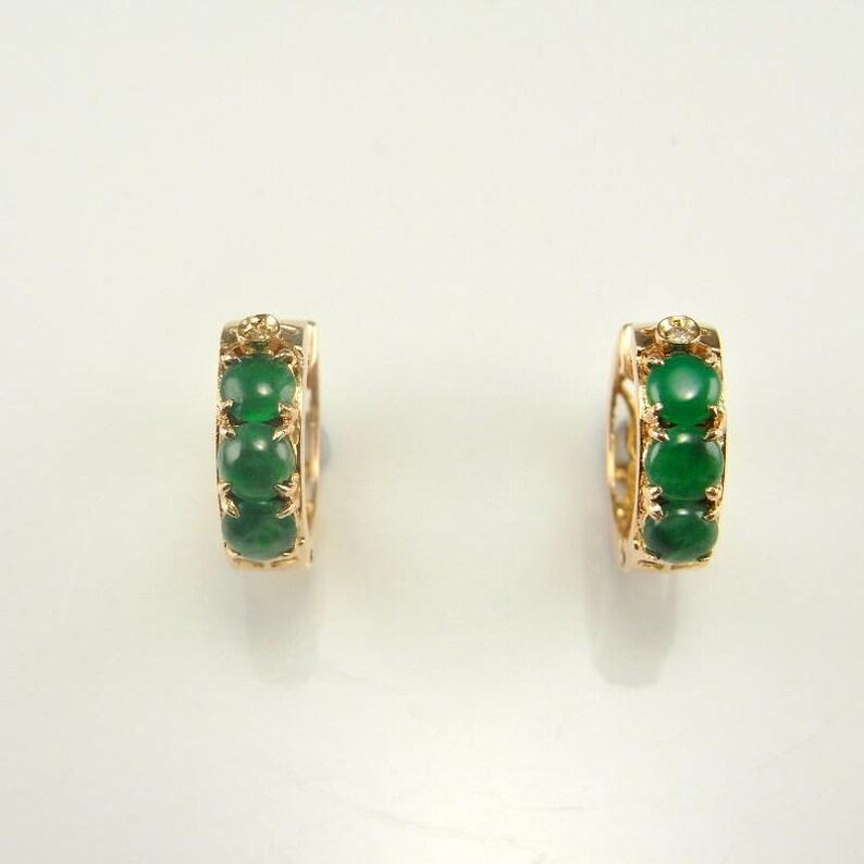 250a54e906d Green Jadeite Earrings 14K jade Earrings Gold Green Jade Hoop | Etsy