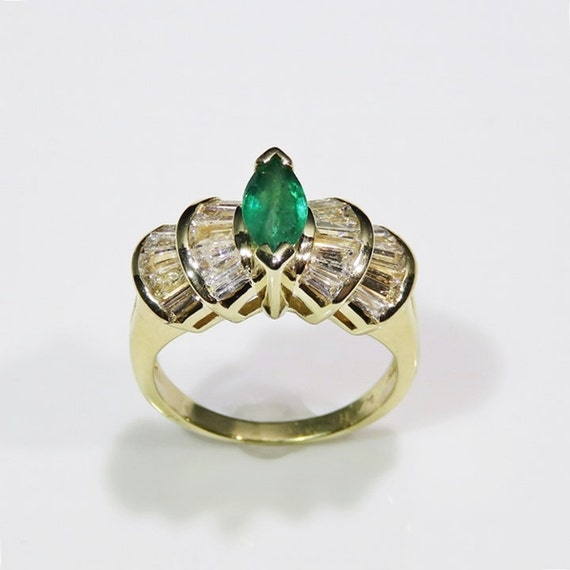 Marquise Emerald Ring Natural Emerald Ring Emeral… - image 3