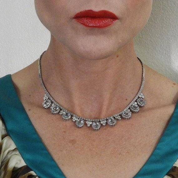 Natural Aquamarine Necklace 14K White Gold Delicat