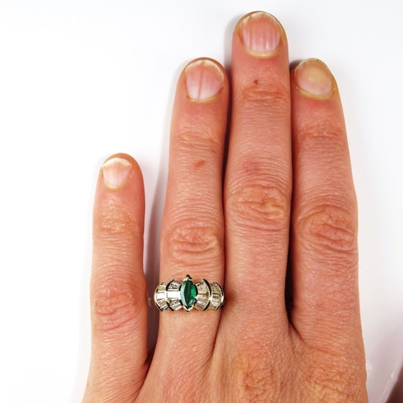Marquise Emerald Ring Natural Emerald Ring Emeral… - image 5