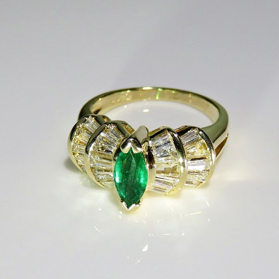 Marquise Emerald Ring Natural Emerald Ring Emeral… - image 1