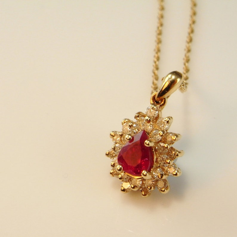 257850e73ef29 Natural Red Ruby Diamond Pendant Pear Cut Ruby Pendant Estate Ruby Necklace  Ruby Anniversary Pendant Necklace 14K Yellow Gold 585 14kt Fine