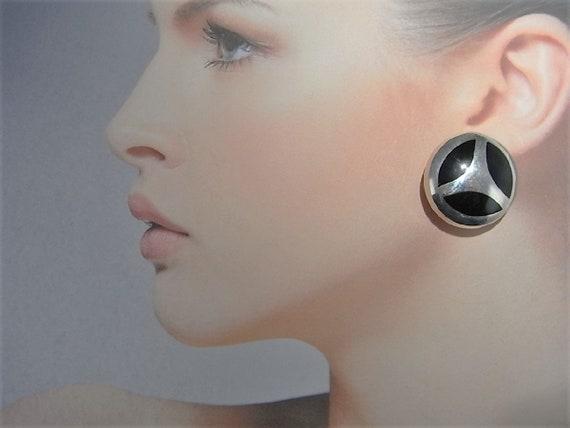 Button Earrings 80s Earrings Onyx earrings sterlin