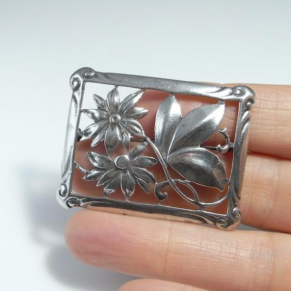 Art Deco Silver Brooch Pin Handmade Antique Sterli