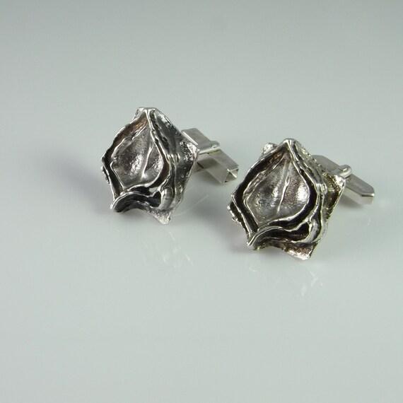 Silver Cufflinks Vintage Cufflinks Modernist Jewel