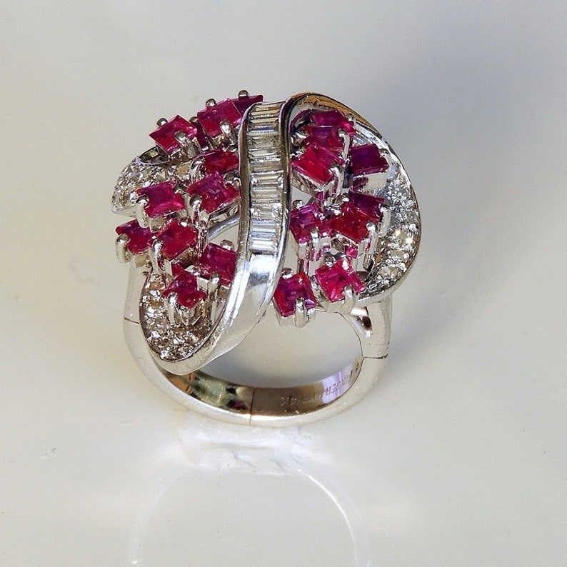 1671dc5b6d0d9 AMAZING Ruby Diamond Cocktail Ring 1950s Ruby Ring 1950s Diamond Ring 14K  White Gold Diamond Cluster Ring Ruby Cluster Ring One of a Kind