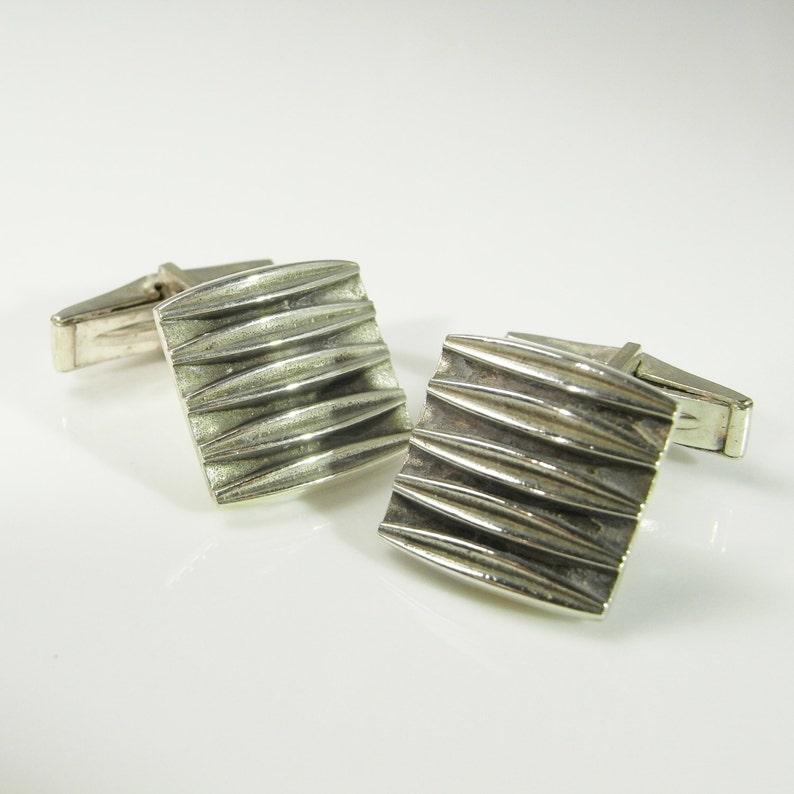 Modernist Cufflinks Vintage Cufflinks Vintage Cuff Links Mens Cufflinks Mens Cuff Links Handmade Fine Modernist Jewelry 1970s Silver R2646