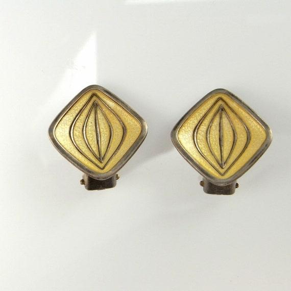 Yellow Earrings 1950s Earrings Clip on Earrings No