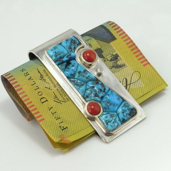 Coral Turquoise Money Clip Coral Jewelry Turquoise