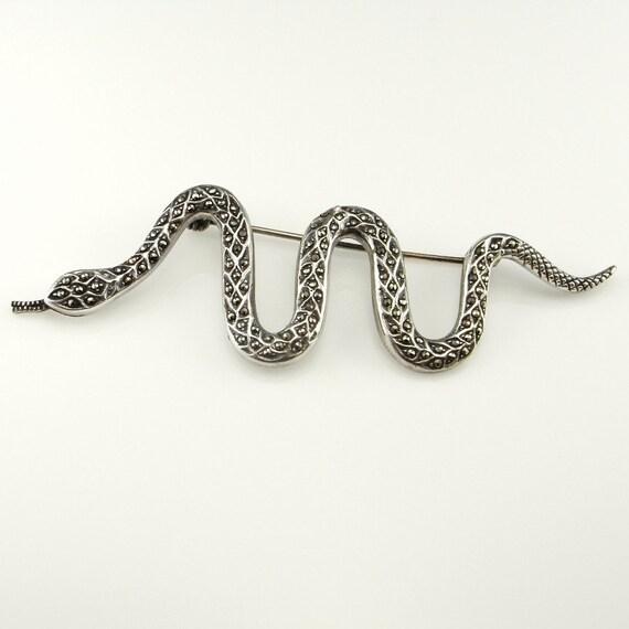 Snake Brooch Snake Pin Snake Jewelry Marcasite Bro