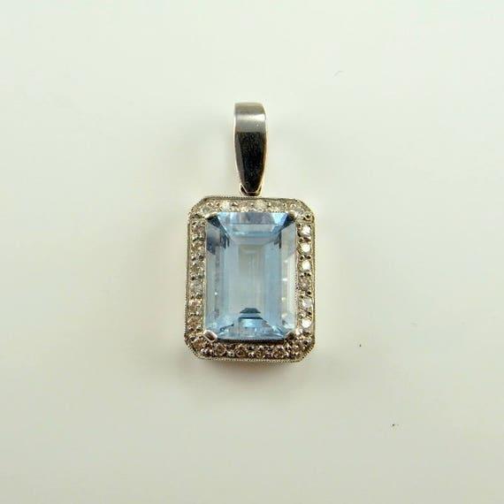 Aquamarine Pendant Necklace Aquamarine Jewelry Dia