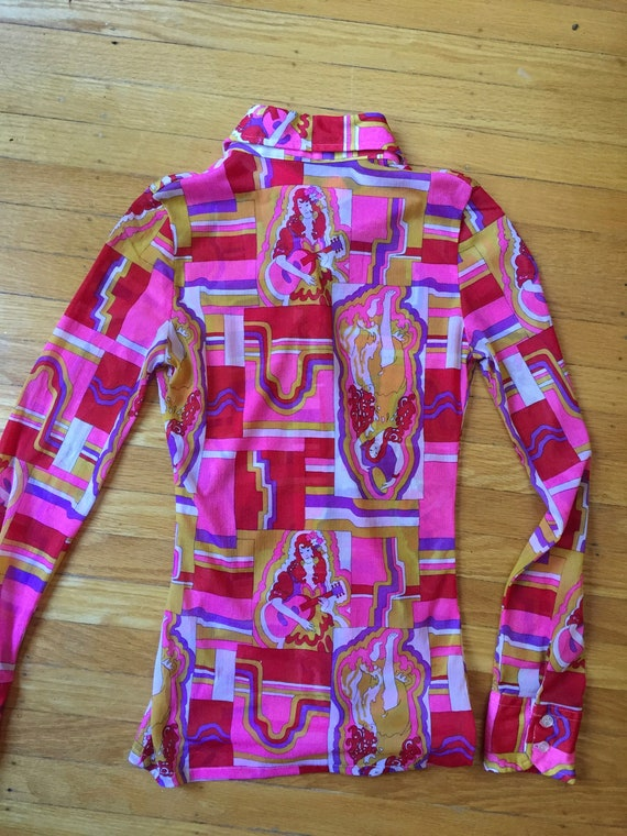 1970s Psychedelic Collared shirt | Size XS - image 3