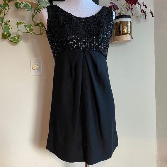 1960s Emma Domb Sequin Black Mini Dress