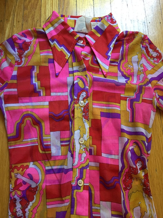 1970s Psychedelic Collared shirt | Size XS - image 4