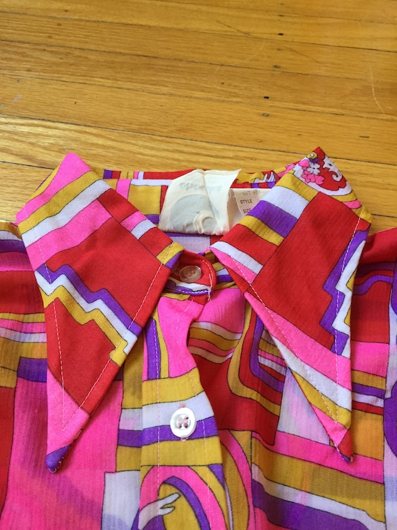 1970s Psychedelic Collared shirt | Size XS - image 5