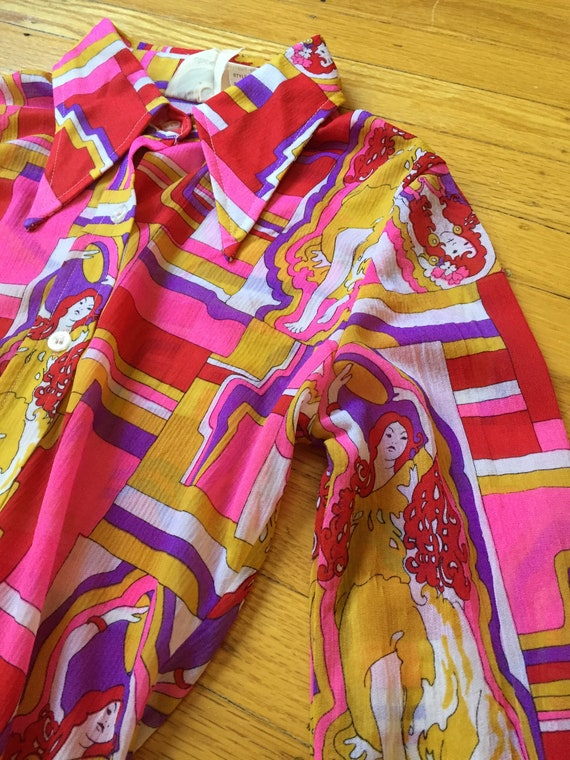 1970s Psychedelic Collared shirt | Size XS - image 2