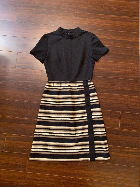 1960s Leslie Fay Knits Striped Mod Dress
