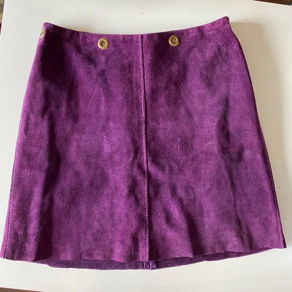 1960s Purple Suede Mini Skirt - image 1