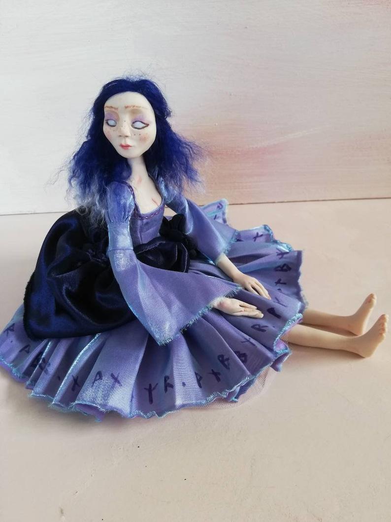 Morrigan handmade art doll beautiful ribbon jointed polymer image 1