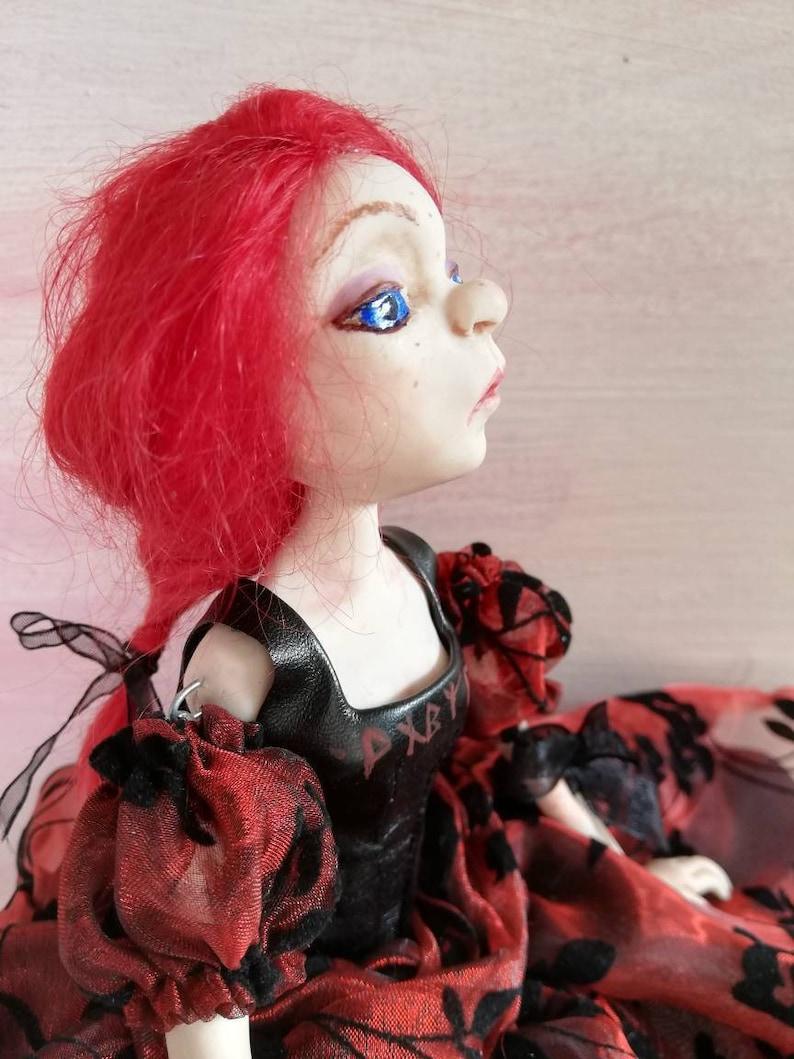 Pearl handmade art doll beautiful ribbon jointed polymer clay image 1