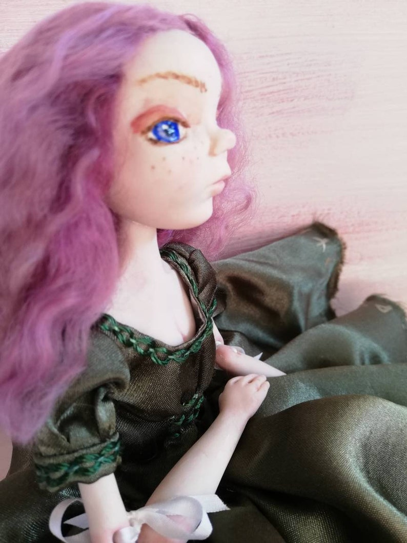 Aria handmade art doll beautiful ribbon jointed polymer clay image 1