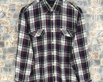 06241266f Vintage 90s Checkered Flannel Shirt Large Plaid Checkered Tartan Hipster  Rebuild Multicolor Grunge Styles Button Up Boyfriend Shirt Size L