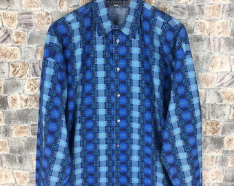 101219c2 VERSACE JEANS COUTURE Oxfords Medium Vintage 90s Gianni Versace Versus  Italy Versace Plaid Checkered Abstract Blue Shirt Button Up Size M